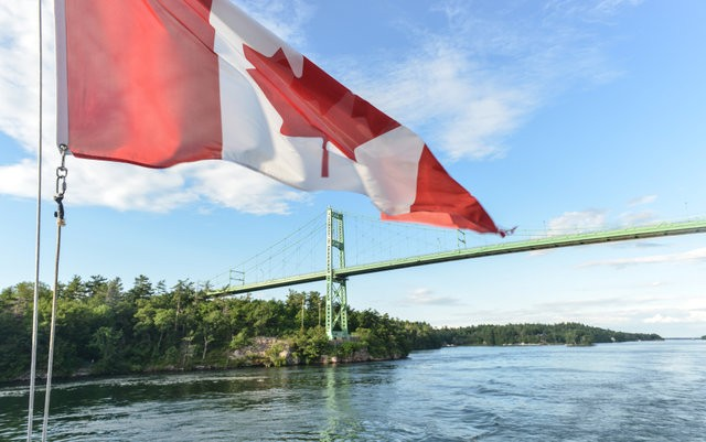 The Thousand Islands Bridge and Canadian Flag