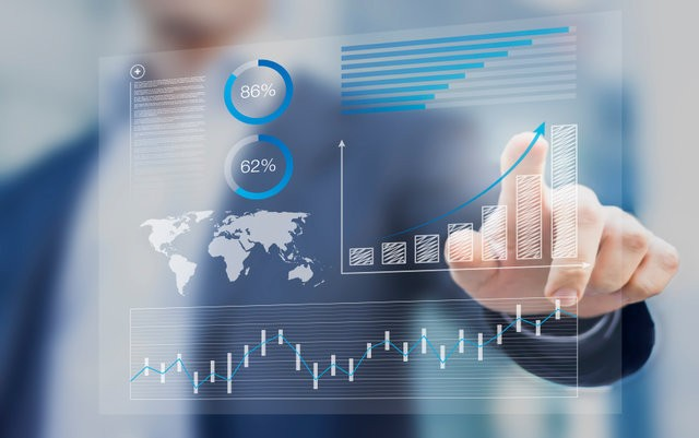 Businessman touching financial dashboard with key performance